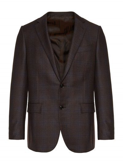 ERMENEGILDO ZEGNA BROWN/BLUE TROFEO LIGHT CHECKED BLAZER