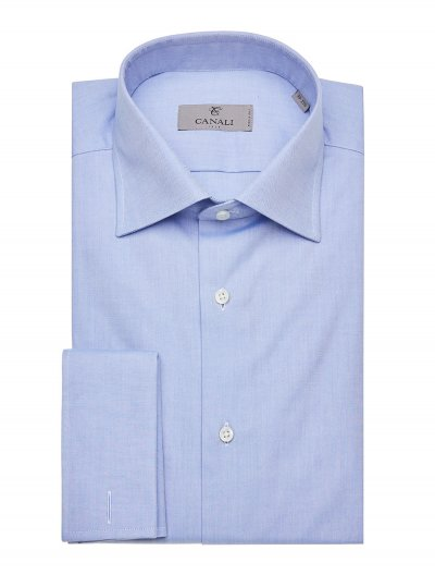 CANALI TWISTED COTTON DRESS SHIRT WITH FRENCH CUFFS