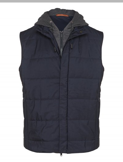 LUCIANO BARBERA WOOL HODDED VEST