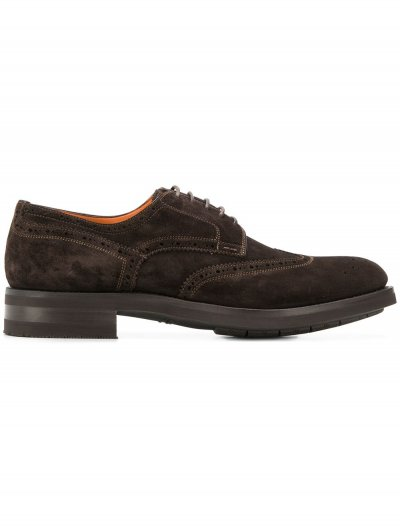 SANTONI SUEDE DERBY SHOES