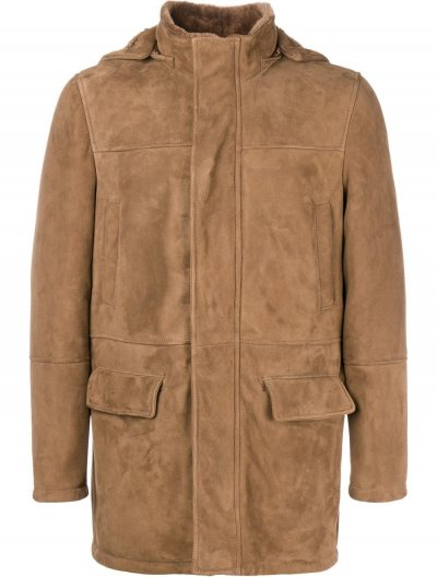 ELEVENTY SUEDE HOODED COAT