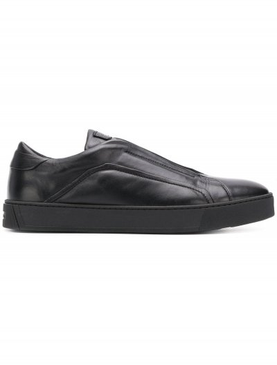 SANTONI LACELESS LEATHER SNEAKERS