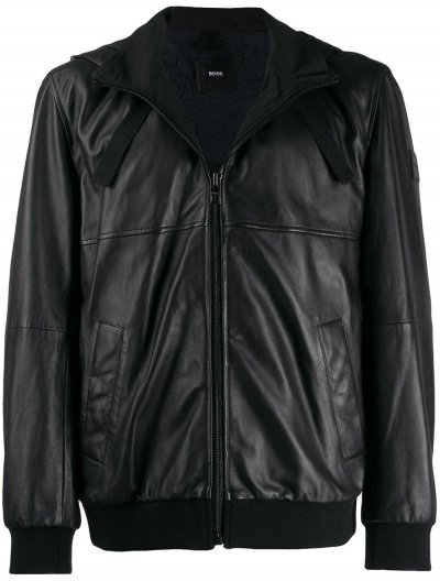 BOSS 'JOLOR' HOODED LEATHER JACKET