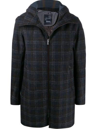 HERNO 'LAMINAR' CHECKED HOODED COAT
