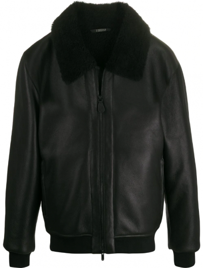 Z ZEGNA SHEARLING-COLLAR LEATHER JACKET