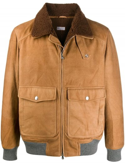 BRUNELLO CUCINELLI SHEARLING COLLAR BOMBER JACKET