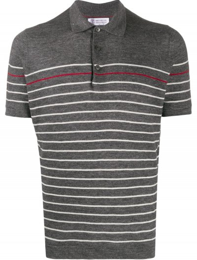 BRUNELLO CUCINELLI LINEN/COTTON STRIPED POLO SHIRT
