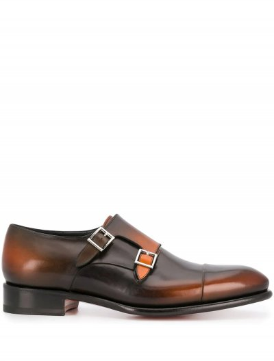 SANTONI DOUBLE BUCKLE SHOES
