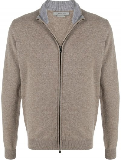 CORNELIANI WOOL/CASHMERE ZIP-UP CARDIGAN