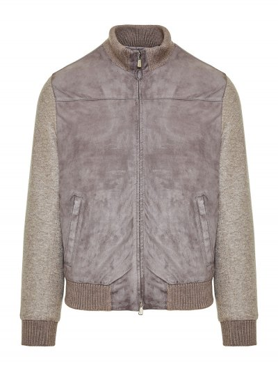 ENRICO MANDELLI LEATHER/CASHMERE BOMBER JACKET