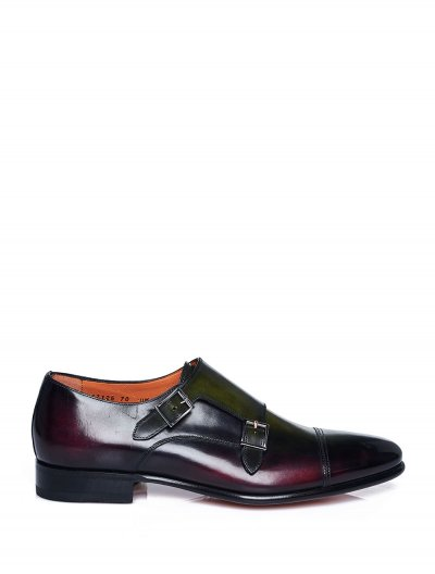 SANTONI DOUBLE BUCKLE 3-TONE SHOES