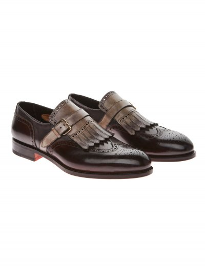 SANTONI SINGLE-BUCKLE SHOES