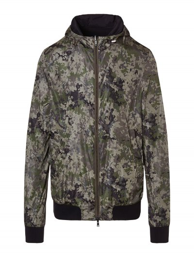 HERNO DOUBLE FACED CAMOUFLAGE/BLACK HOODED JACKET