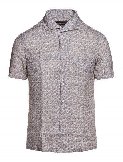 CORNELIANI SHORT-SLEEVE LINEN SHIRT